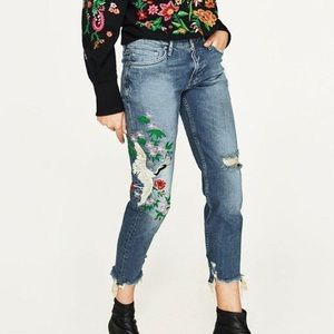 Zara Crane Embroidered Distressed Boyfriend Jeans